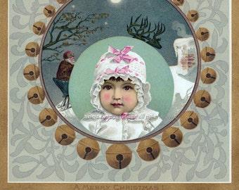Christmas Card Baby Waits for Santa Claus - Holiday Notecard