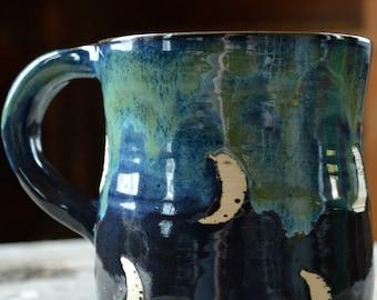 Crescent Moon Bohomeian Pottery Mug Blue with Green Drips