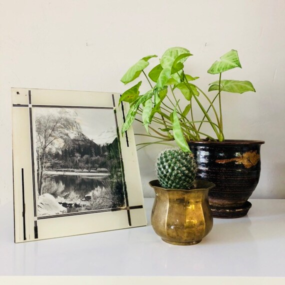 Vintage White Art Decor Picture Frame Black White Reverse Painted Decorative Glass Frame Vintage Landscape Photograph 1940s Mirrored Silver