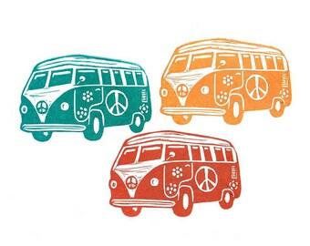 VW Volkswagen Bus Rubber Stamp , Mini Wagon, Retro Mini Bus, Hand Carved Hippie Bus Rubber Stamp,Party Invitation,Custom Carved Rubber Stamp