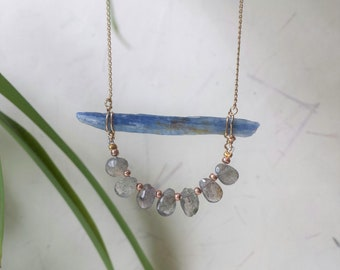 Kyanite Necklace, Layering Necklace, Labradorite Necklace, Briolette necklace, Boho Necklace, Raw Crystal Necklace, Raw Gemstone Jewelry