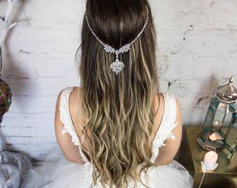 Zirconia Headpiece, Backside or Forehead Bridal Hair Jewelry