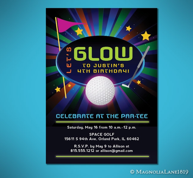 Glow in the dark mini golf birthday invitation customized zoom filmwisefo Choice Image