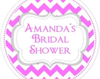Chevron Wedding Favor Stickers, Chevron Bridal Shower Labels, Custom Wedding Shower Stickers, Personalized for YOU