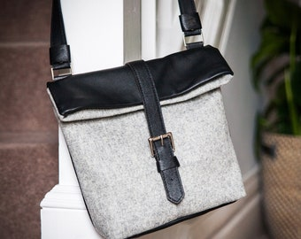 Leather & Fabric Foldover Cross Body Bag - Leather Crossbody - Leather Bag  - Foldover Bag - Cross Body Bag - Leatherwork - Handmade Bag