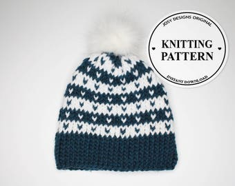 Knitting Pattern, Chunky Knit Hat, Fair Isle Knit Hat, Women Knit Hat, Instant PDF Download