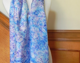 Large Hand Dyed Silk Scarf, Purple and Blue Abstract, Ready to Ship