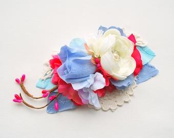 Serenity Blue Pink White Rose Bridal Flower Hair Comb Sash, Spring Weddings Hair Accessories, Blue Pink Bridal Sash Belt, Photo Prop, Prom