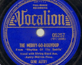 Gene Autry - The Merry Go Round-Up - Hillbilly / Country 78 RPM Record - VG Condition