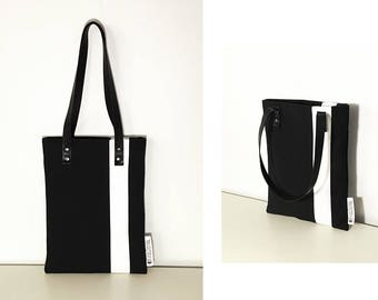 Minimalist black and white cotton shoulder bag / handbag