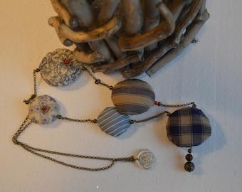 Handmade necklace, textile necklace, vintage necklace, textile accessory, cloth necklace, single piece, handmade necklace