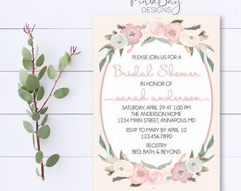 Floral Bridal Shower Invitation, Watercolor Shower Invitation, Bridal Shower Invite, Shower Invitation, Blush Bridal Shower