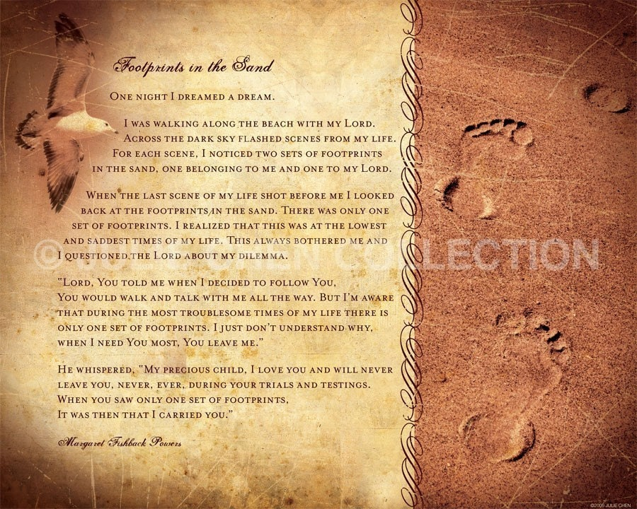 FOOTPRINTS POEM Christian Gift Religious Home Decor
