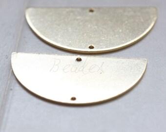 10 Pieces / Raw Brass / Brass Base / Charm / Crescent Link / Geometry / Half Circle (C3089//P402)