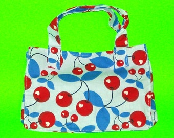 Cherry Bomb Bright Red and Blue Retro Rockabilly Pop Art Printed Classic Handbag Style Cotton Purse