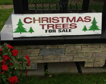 Christmas Trees For Sale Wood Sign Christmas Sign Distressed Wood Holiday Decor Wall Hanging Rustic Primitive Farmhouse Fixer Upper Sign