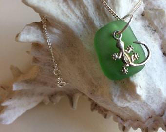 Sterling Silver Gekko/Lizard and Kelly Green Genuine Sea Glass Necklace