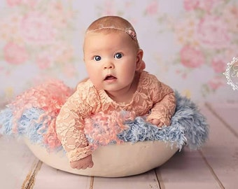 Newborn Baby Girls stretch peach Romper with long sleeves scoop neck low back satin effect ribbons at the back   photographers newborn prop