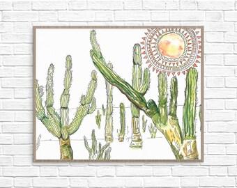 Cactus Art Print // Southwestern Tribal Art // Printable