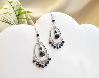 Drop earrings silver and black