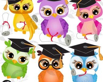 Owl Clipart, Graduation Owls Clipart, Owl Clip Art, Owl with Graduation Cap, Diplomas, Back to School, Commercial Use, AMB-267