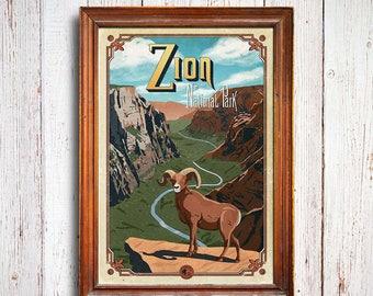 Zion poster, Zion National Park print, Utah poster , Zion trail print, national park poster, angels landing poster, bighorn sheep poster
