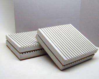 Concrete Coasters, Modern Coasters, Coaster Set of 4 , Cork Bottom Minimalist