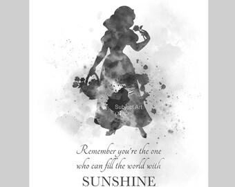 Snow White Quote ART PRINT illustration, Black and White, Disney, Princess, Wall Art, Home Decor, Nursery, Gift