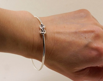 Sterling Silver Love Knot Bangle - Infinity Bracelet - Knot Bracelet - Best Friend Bracelet - Sister Bracelet