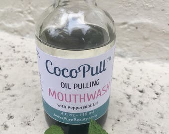 Natural Oil Pulling Mouthwash from Cocopull with Peppermint Oil and Activated Charcoal