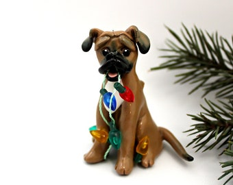 Rhodesian Ridgeback Dog PORCELAIN Christmas Ornament Figurine with Lights