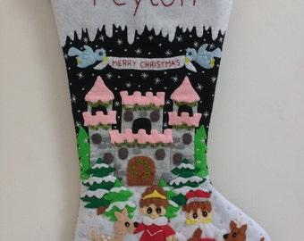 PRE-ORDER Felt Christmas stocking Christmas at the castle stocking