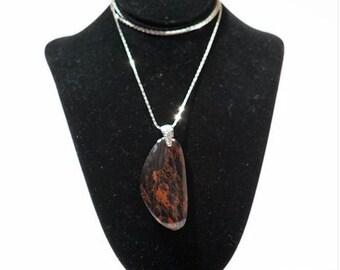 Mahogany Obsidian Stone Necklace | Mahogany | Stone Of Strength | Natural Stone | Gems | Gemstones | Unique | Beautiful | Michigan Made