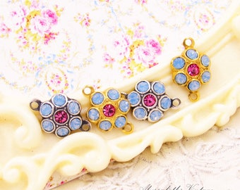 Swarovski Air Blue Opal & Rose Pink Rhinestone Flower Drop or Connector Floral Set Stones Black, Brass or Silver Ox Settings 15x10mm