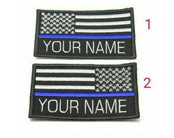 Custom name thin blue line police  swat  USA flag patch hook backing for attachment or sew on size 9cmX5.5cm