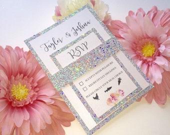 Silver Glamour Glitter Wedding Invitation Set, Silver Wedding Invitation, Wedding Glitter Invitation, Sparkle Invitations