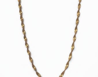 Vintage 1960's Rolled Gold Twisted Spiral Ridged Chain Collarbone Necklace 18 Inches