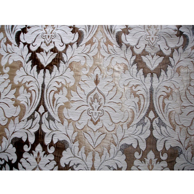 Ivory Antique Gold Chenille Damask Curtain Fabric Upholstery
