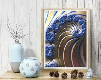 Blue Swirly fractal art print, wall art for home, office, or dorm, archival art prints