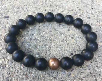 10mm black onyx mens beaded bracelet copper mens jewelry