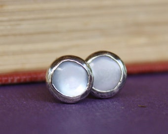 Mother Of Pearl Ear Studs Rustic
