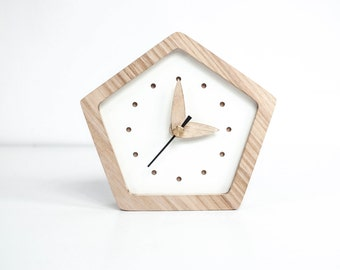 Wooden Desk Clock   Oak Wood Mini Clock   Angular Desk Clock   White Wooden Table  Clock   Night Table Clock   Bedside Clock   Fathers Gift