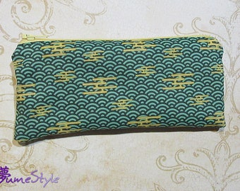 Zipper Pouch - Asian Clouds in Green