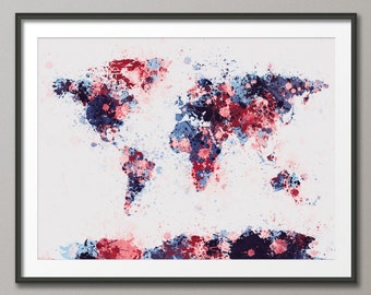 Paint Splashes Map of the World Map, Art Print (184)