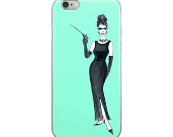 Breakfast at Tiffany's iPhone Case, Chic IPhone Case, Fashion IPhone Case, Girly Iphone Case, Fashion Illustration Phone Case, Gift for her