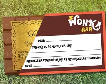 Wonka Thankyou Cards Printable - INSTANT DOWNLOAD