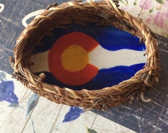Pine Needle Basket with Colorado Flag