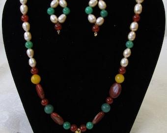 Jade Pendant, Pearl, Jasper - Necklace and Earrings