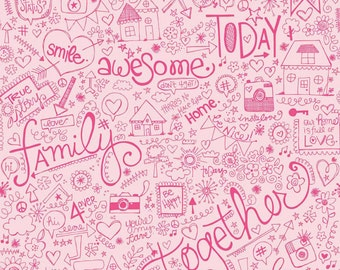 Snapshots Family Pink - Fat Quarter Cut - Riley Blake Designs - Cotton Fabric -  Pink Fabric
