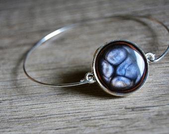 Thin silver bracelet blue black orange blue black cabochon and silver Bangle Bracelet orange Bracelet simplicity